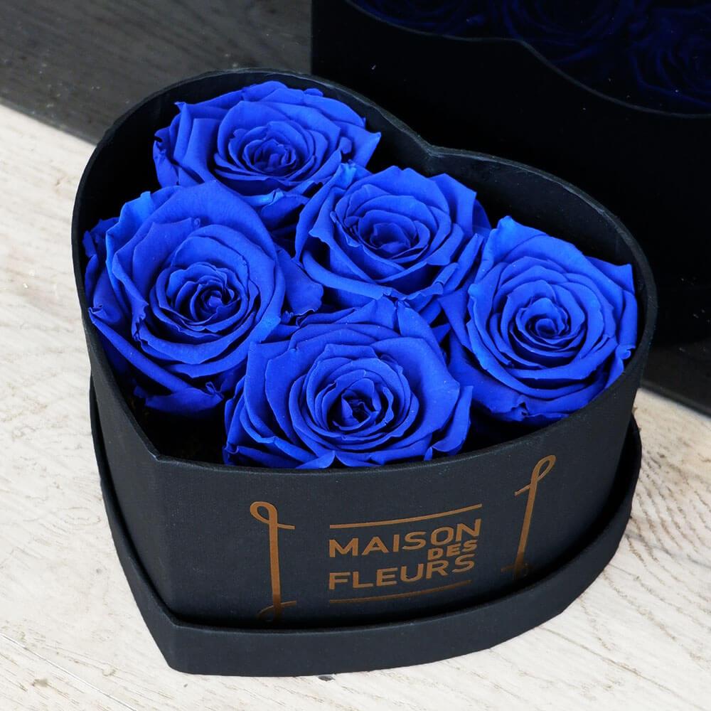 Forever Blue Roses Heart Box