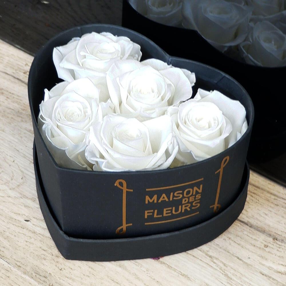 Forever Roses - Forever White Roses Heart Box