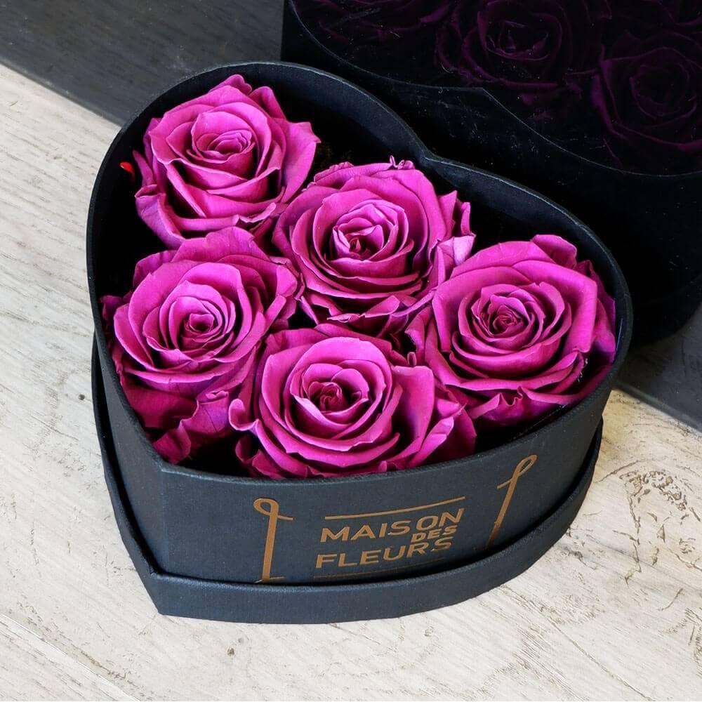 Forever Purple Roses Heart Box