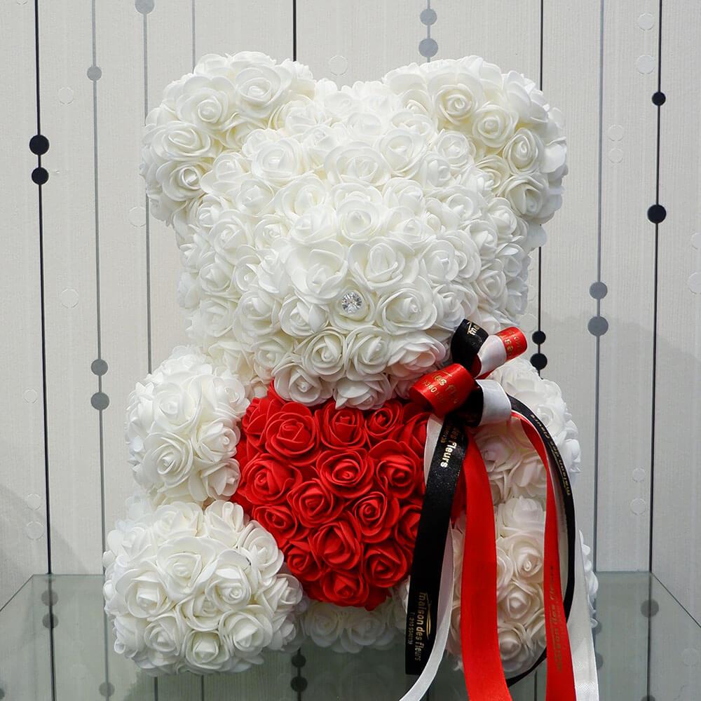 Forever teddy bear White Heart