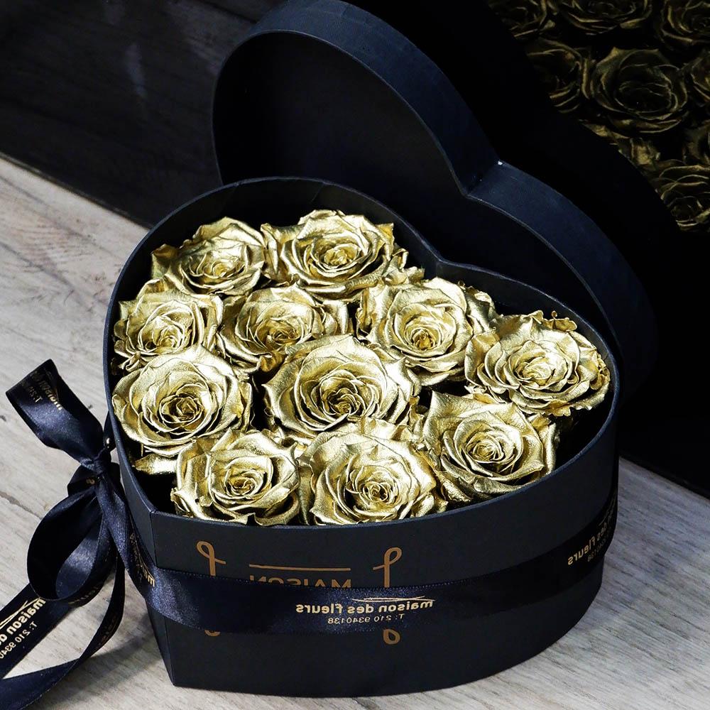Forever Gold Roses Heart Box Medium