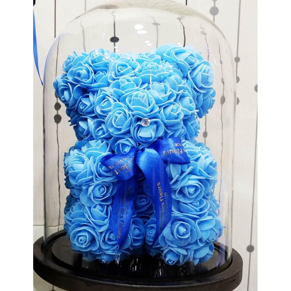 Forever teddy bear blue σε γυάλα