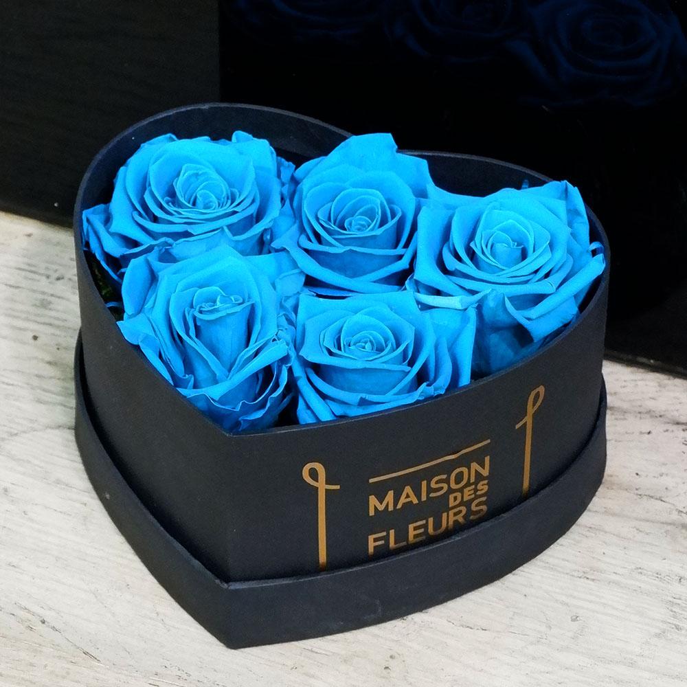 Forever Roses - Forever Light Blue Roses Heart Box