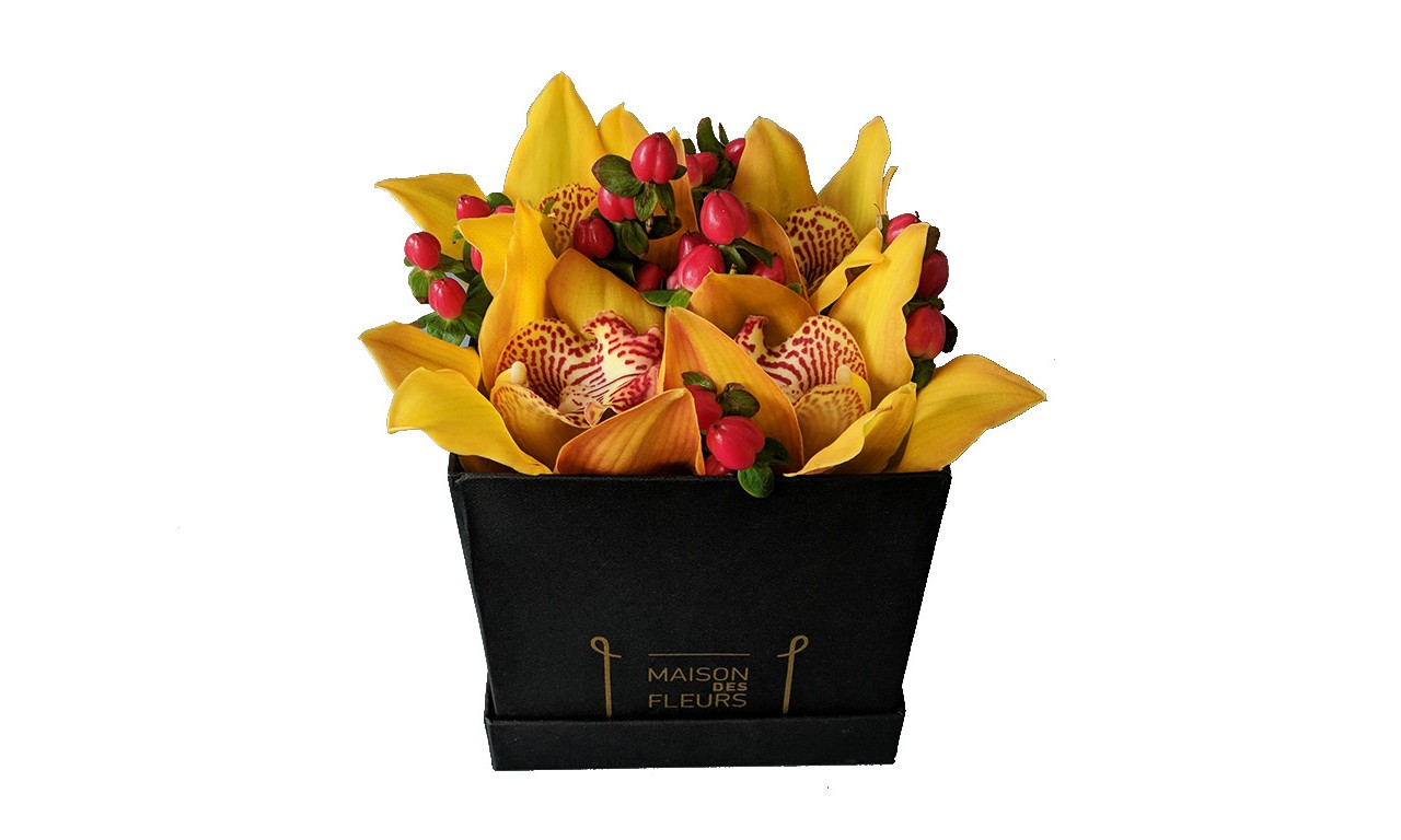 Small Cymbidium box | Flower shop Maison des fleurs