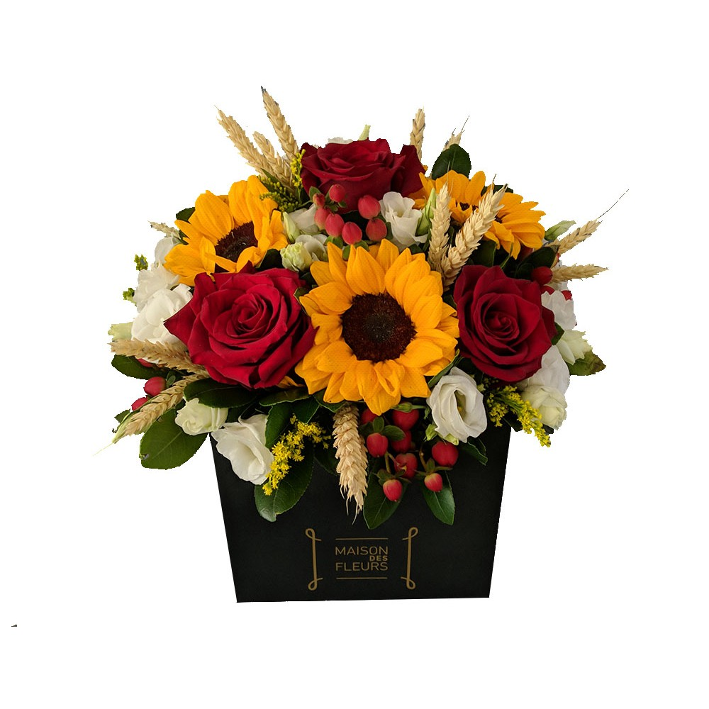 Red Sunbox - Σύνθεση από ποικιλία εντυπωσιακών λουλουδιών σε έντονες χρωματικές αντιθέσεις!