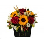 Red Sunbox - Flower arrengement from a variety of impressive flowers in intense color contrasts!