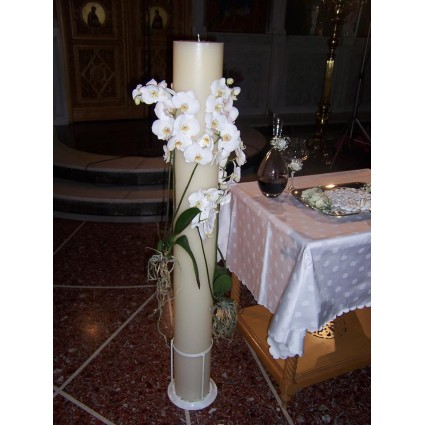 White Root - Bridal round candles with white orchids phalaenopsis!
