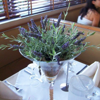 Glass Lavender - Table decoration with aromatic lavender in martini glass!