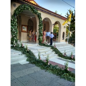 Arch of Love - Impressive arch of rich eucalyptus foliage and compositions with roses & orchids!