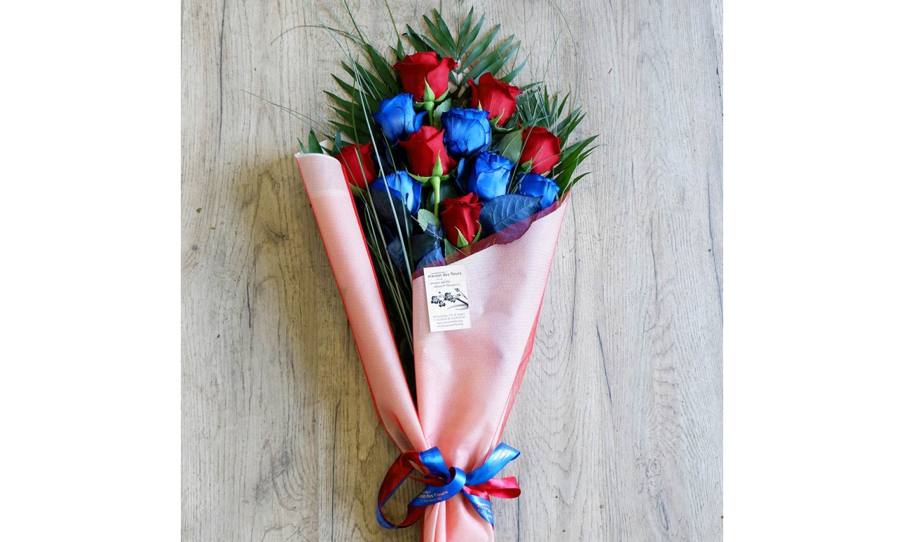 Red and Blue bunch of flowers