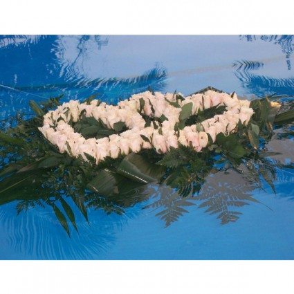 Pool Heart - Dual heart pool decoration made of white roses and various foliage!