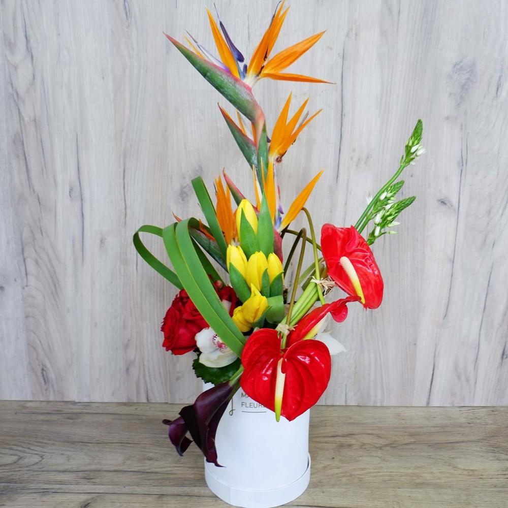 Lara - Flower arrangement with orchrids cymbidium, roses and gerberas.